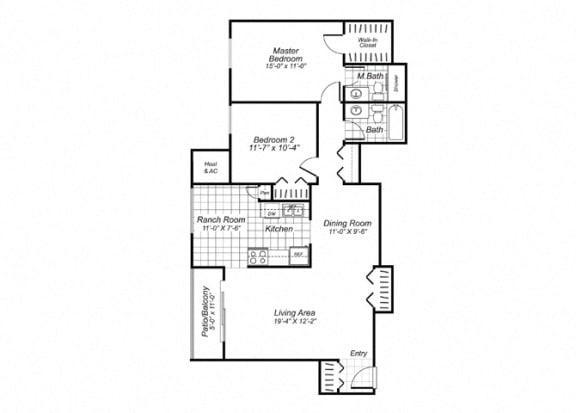Floor Plan  Two bedroom two bathroom B5 Floorplan at Oakfield Apartment Homes in Wheaton, MD