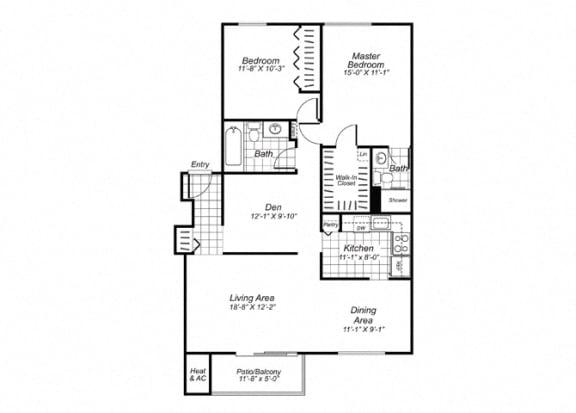 Floor Plan  Two bedroom two bathroom B6 Floorplan at Oakfield Apartment Homes in Wheaton, MD