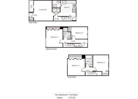 Floor Plan  townhom floorplan at Parklane Apartments in Gaithersburg, MD