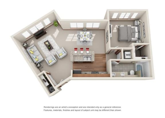 Floor Plan  1 Bed 1 Bath Floor plan at Harrington Square, Renton, WA, 98056