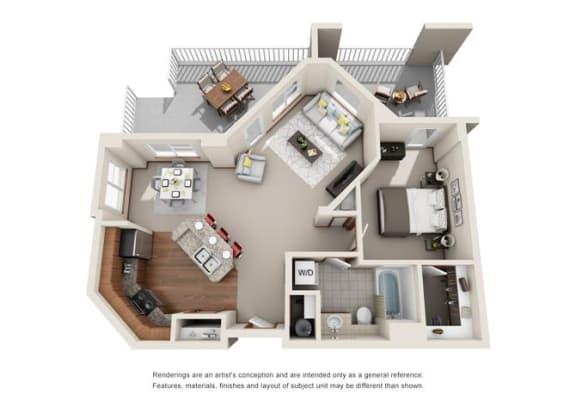 Floor Plan  1 Bed 1 Bath Floor plan at Harrington Square, Renton, 98056
