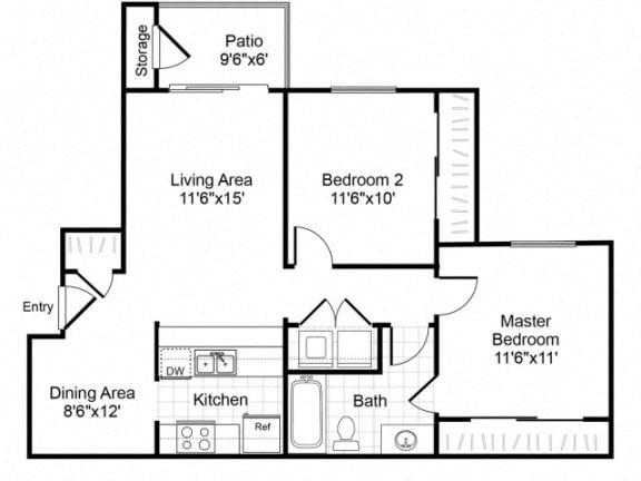 Floor Plan  B1 floorplan at Valley Ridge Apartments in Lewisville, TX