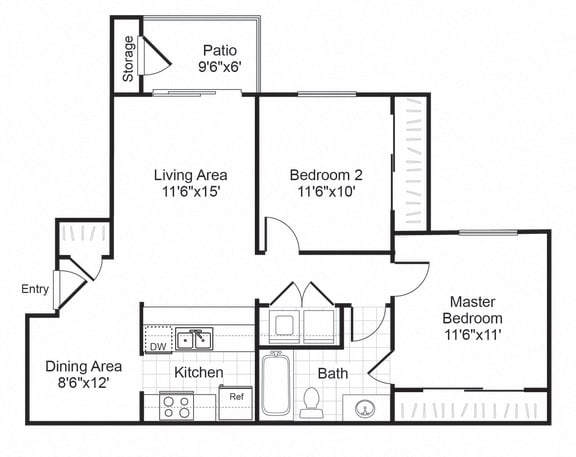 Floor Plan  B1 floor plan at Valley Trails Apartments in Irving, TX