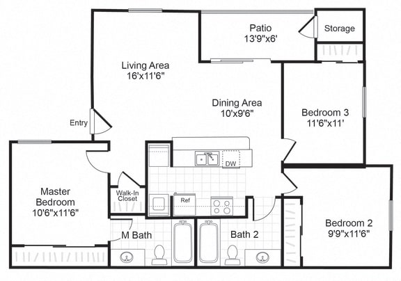 Floor Plan  C1 floor plan at Valley Trails Apartments in Irving, TX