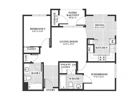 Floor Plan  Two bedroom two bathroom B1 Floorplan at Muirlands at Windemere in San Ramon, CA