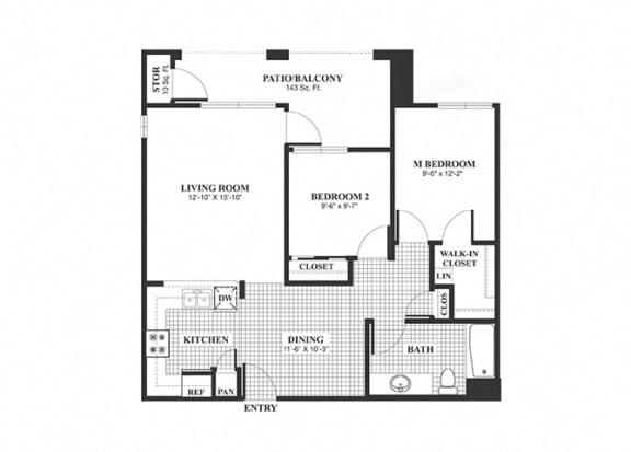 Floor Plan  Two bedroom one bathroom B2 Floorplan at Muirlands at Windemere in San Ramon, CA