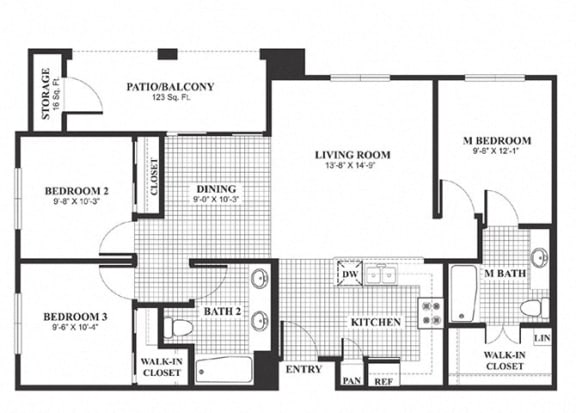 Floor Plan  Three bedroom two bathroom C2 Floorplan at Muirlands at Windemere in San Ramon, CA