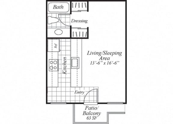 Floor Plan  Studio one bathroom floorplan at Turnleaf Apartments in San Jose, CA