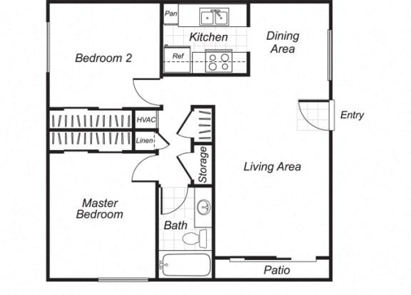 Floor Plan  Two bedroom one bathroom B1 floorplan at Westchester Park Apartments in Tustin, CA