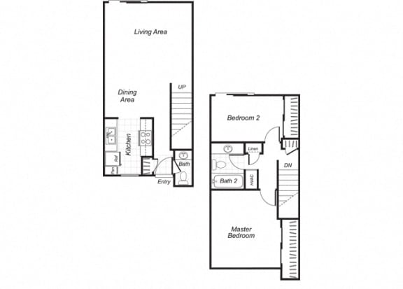 Floor Plan  Two bedroom one and a half bathroom B4 floorplan at Westchester Park Apartments in Tustin, CA