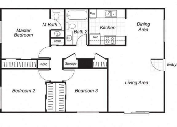Floor Plan  Three bedroom one and a half bathroom C1 floorplan at Westchester Park Apartments in Tustin, CA
