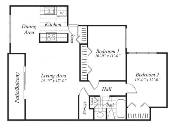 Floor Plan  Two bedroom one bathroom B2 floor plan at Canyon Rim Apartments in San Diego, CA