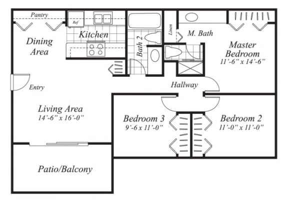 Floor Plan  Three bedroom two bathroom C1 floor plan at Canyon Rim Apartments in San Diego, CA