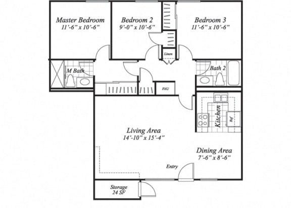 Floor Plan  Three bedroom two bathroom C1 floorplan at The Stratton Apartments in San Diego, CA