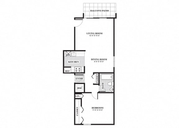 Floor Plan  One bedroom one bathroom Classical A floorplan at University Heights Apartments in Providence, RI