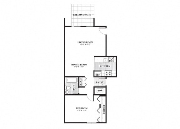 Floor Plan  1 bedroom 1 bathroom classical B floorplan at University Heights Apartments in Providence, RI