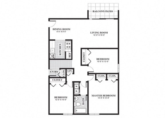 Floor Plan  Three bedroom one bathroom Elmwood floorplan at University Heights Apartments in Providence, RI