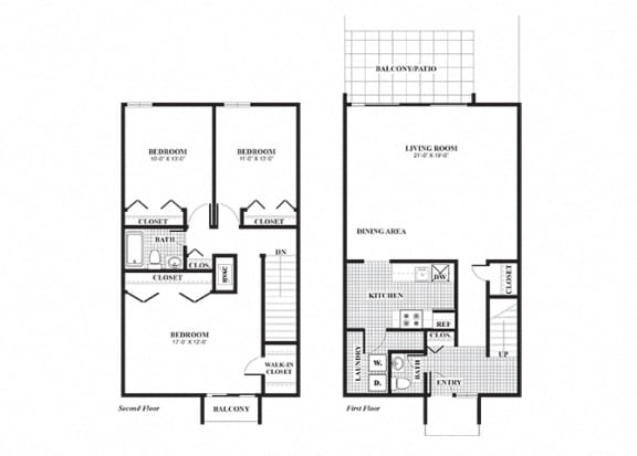 Floor Plan  Three bedroom one and a half bathroom LaSalle floorplan at University Heights Apartments in Providence, RI