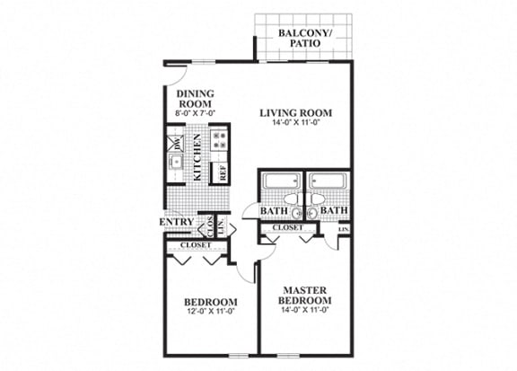 Floor Plan  Two bedroom two bathroom Thayer A floorplan at University Heights Apartments in Providence, RI