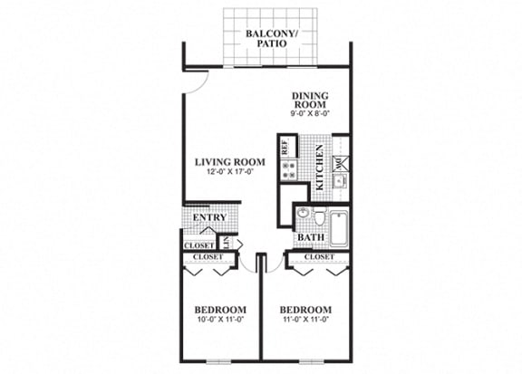 Floor Plan  Two bedroom one bathroom Wayland A floorplan at University Heights Apartments in Providence, RI