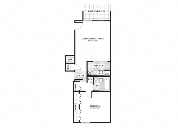 Floor Plan  One bedroom one bathroom Wickenden floorplan at University Heights Apartments in Providence, RI