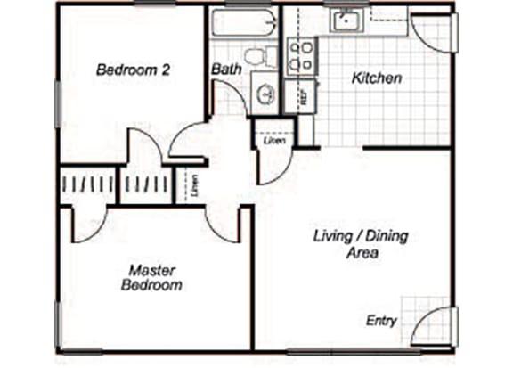 Floor Plan  Two bedroom one bathroom B1 floorplan at Sutterfield Apartments in Providence, RI