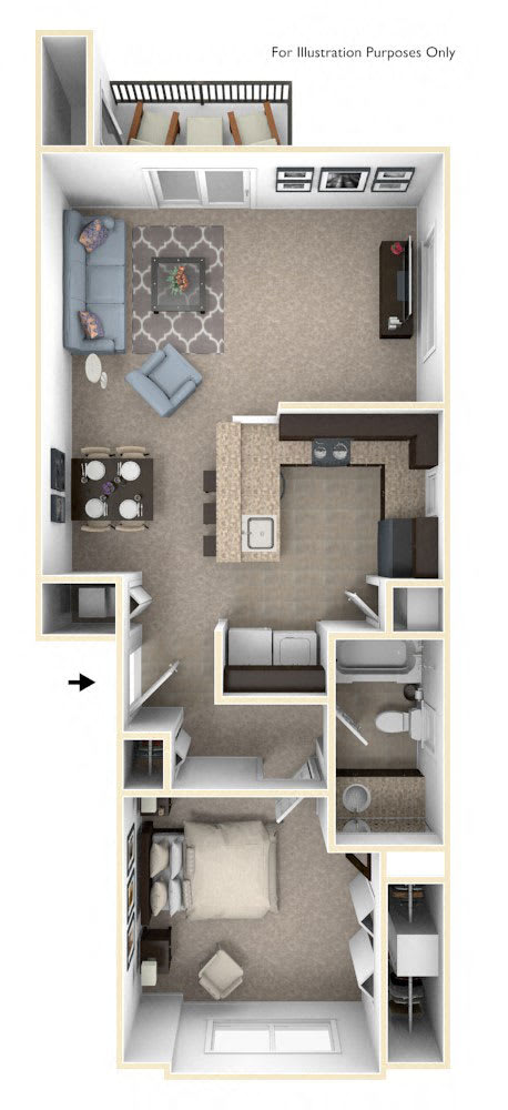 One Bedroom One Bath End Floorplan at Copper Creek Apartment Homes, Maize, KS