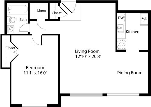 Floor Plan  A1 Floor Plan at The Fields of Arlington, Arlington, VA, 22204