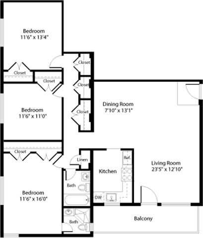 Floor Plan  C1 Floor Plan at The Fields of Arlington, Arlington, 22204