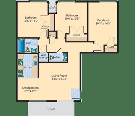 C1 Floor Plan at The Fields of Alexandria, Alexandria, VA, 22304