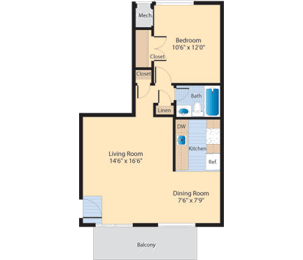 A1 Floor Plan at The Fields of Alexandria, Alexandria, VA