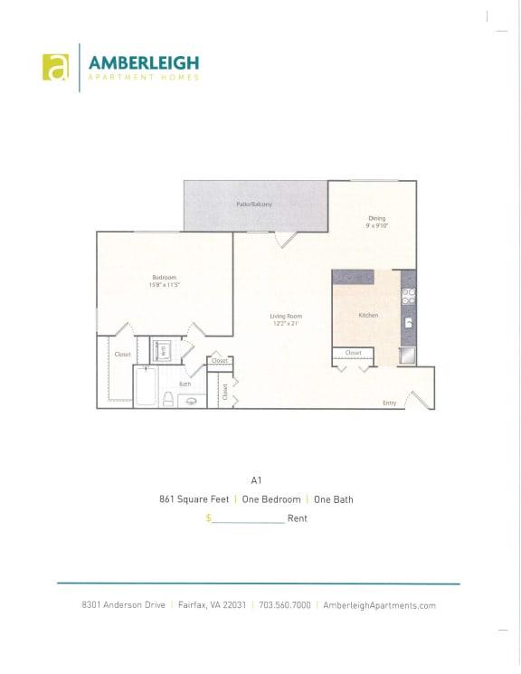 Floor Plan  One bedroom, one bath floor plan at Amberleigh apartments in Fairfax, Virginia 22031