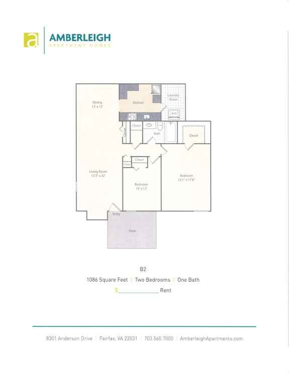 Floor Plan  Two bedroom, one bath floor plan at Amberleigh apartments in Fairfax, Virginia 22031