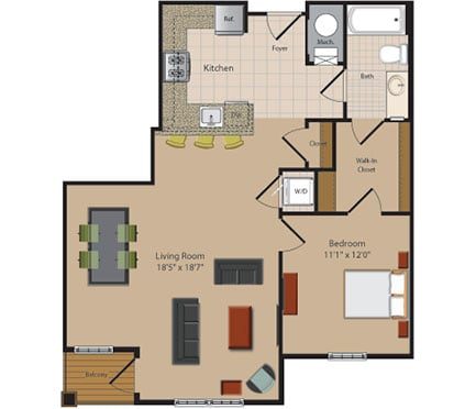 A4 1 Bed 1 Bath Floor Plan at Garfield Park, Virginia, 22201