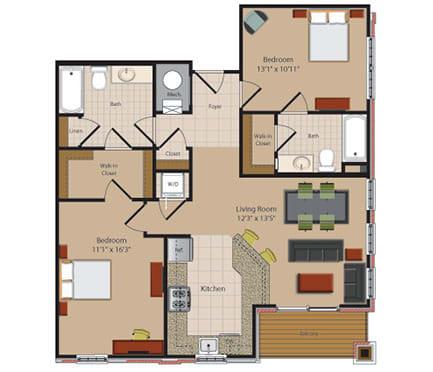 B7 2 Bed 2 Bath Floor Plan at Garfield Park, Arlington, 22201