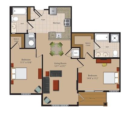 B9 2 Bed 2 Bath Floor Plan at Garfield Park, Arlington