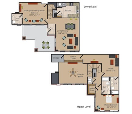 L1 1 Bed 1 Bath Floor Plan at Garfield Park, Arlington, Virginia