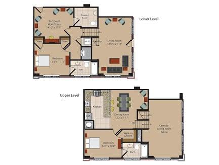 L2 2 Bed 2 Bath Floor Plan at Garfield Park, Arlington