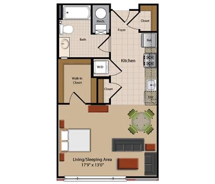Studio Floor Plan at Garfield Park, Arlington, VA, 22201