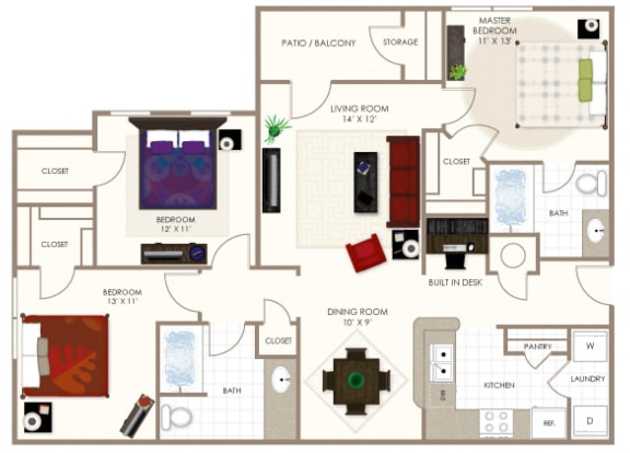 The Cottonwood Three Bedroom Floor Plan at Summerwood on Towne Line, Indianapolis, Indiana