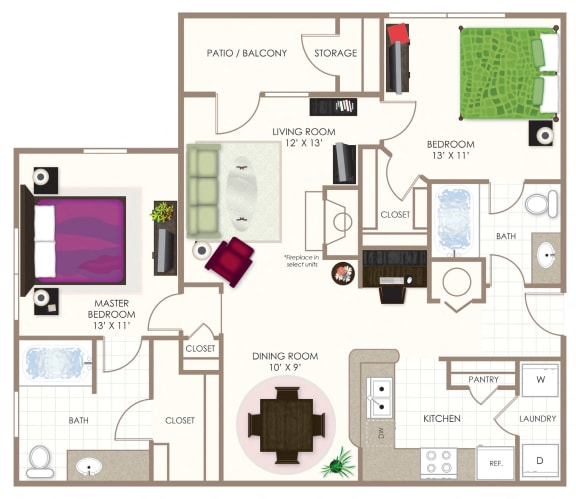 The Mulberry Two Bedroom Floor Plan at Summerwood on Towne Line, Indianapolis, 46268