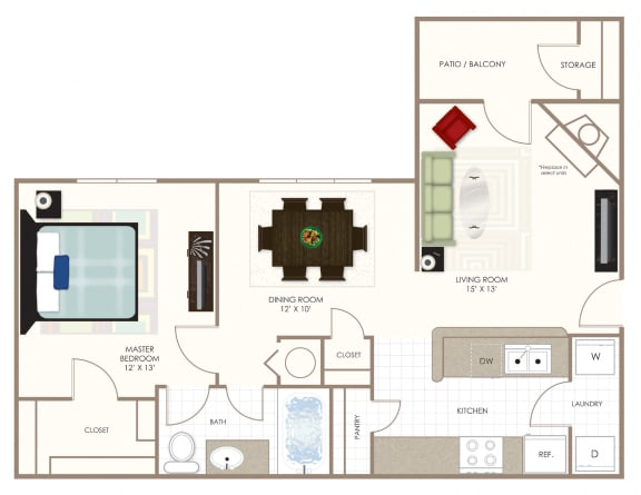 The Willow One Bedroom Floor Plan at Summerwood on Towne Line, Indiana