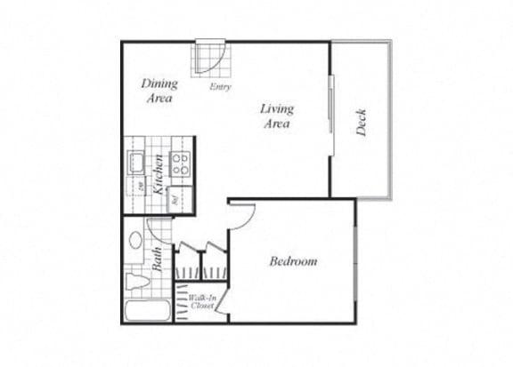 Floor Plan  One bedroom one bathroom A1 floorplan at Timberleaf Apartments in Lakewood, CO