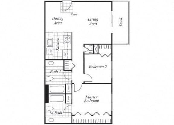 Floor Plan  Two bedroom two bathroom B2 floorplan at Timberleaf Apartments in Lakewood, CO