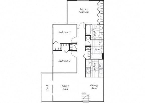 Floor Plan  Three bedroom two bathroom C1 floorplan at Timberleaf Apartments in Lakewood, CO