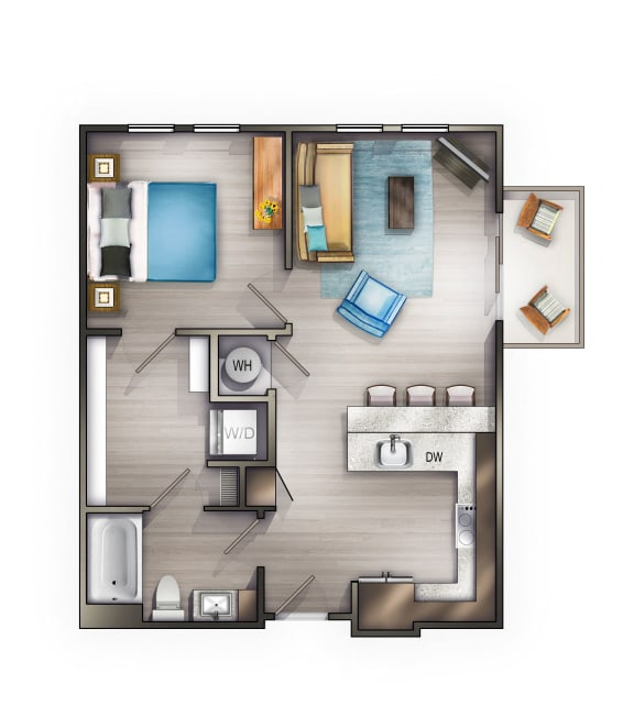 A3 Floor Plan at Peyton Stakes, Nashville, 37208