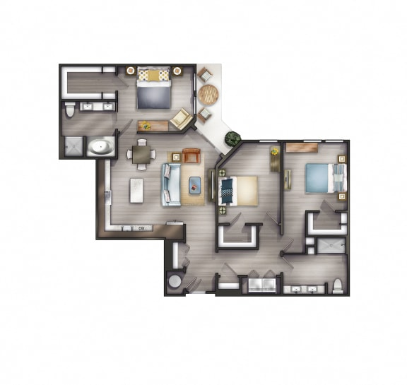 C1 Floor Plan at Peyton Stakes, Germantown, Nashville, TN