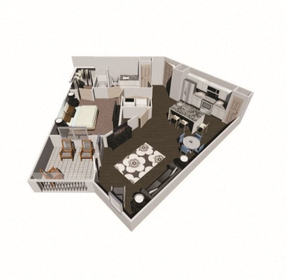 Floor Plan  Axis West one bedroom floor plan