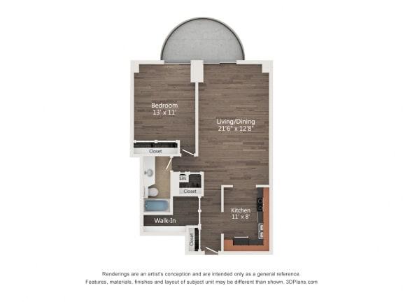 Floor Plan  1 Bedroom 10