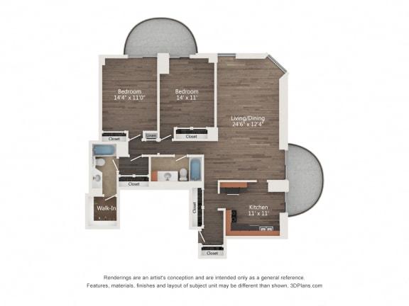 Floor Plan  2 Bedroom 02